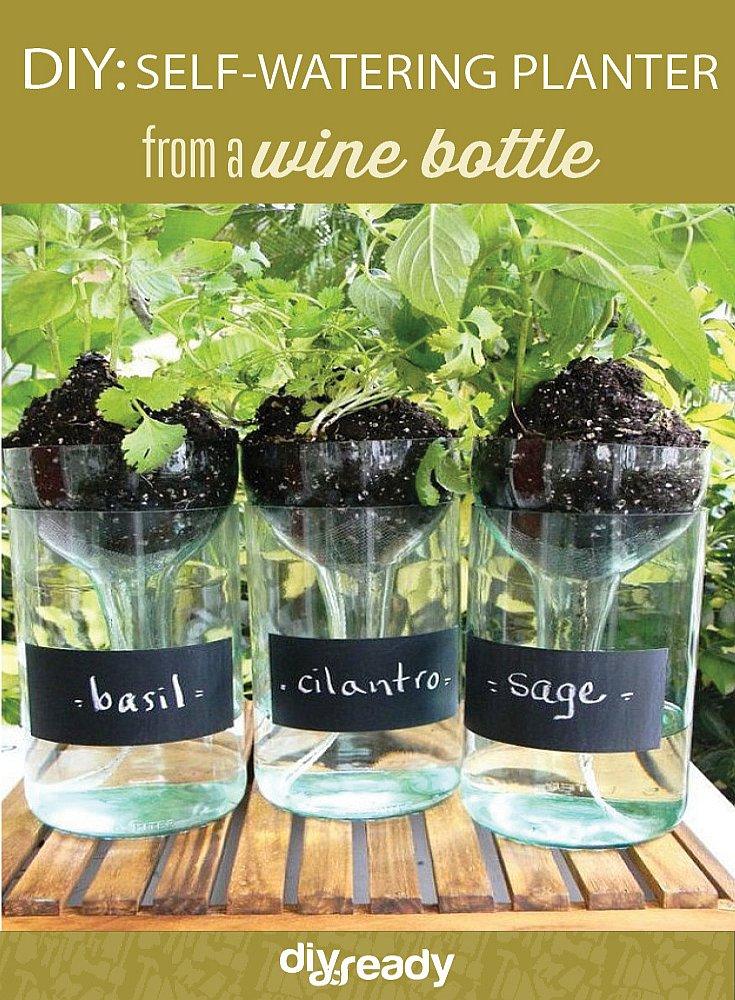 self watering bottle planter